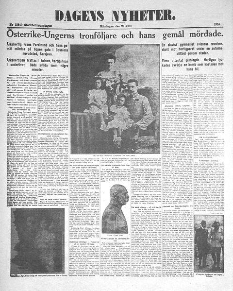 Dagens Nyheter 29 juni 1914